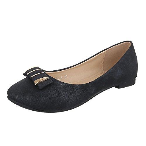 Damen Schuhe, 5025, BALLERINAS, PUMPS, Synthetik in hochwertiger Lederoptik , Schwarz, Gr (Schwarze Schuhe Rote Bella Und Spitzen)