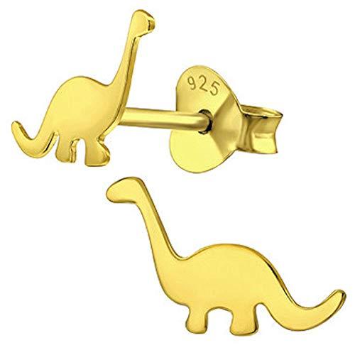 So Chic Bijoux© Ohrringe Kinder Dinosaurier Denver Brachiosaure Arlo Reise Aladar Gelb 925 Silber