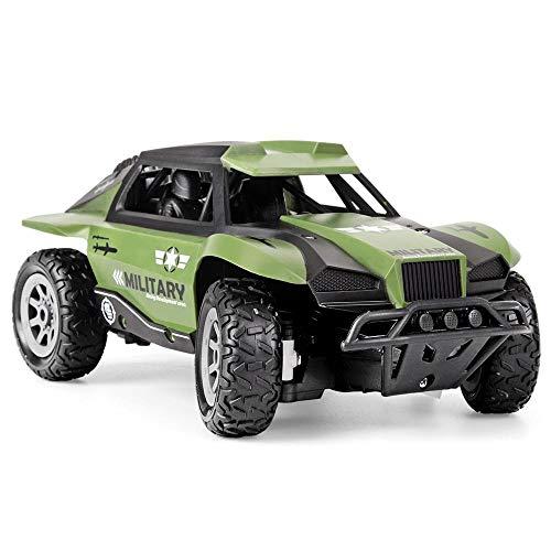 Tanktoyd 01.20 4-Rad-Antrieb Außen Fernbedienung Off-Road Car Simulation Militärfahrzeug Modell 2.4G TPR High Speed   RC-Rennwagen Spielzeug for Kinder (Color : Grün)