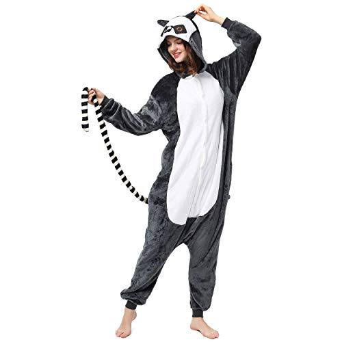 Katara 1744 (30+ Designs) Lemur Affen-Kostüm, Unisex Onesie/ Pyjama-Qualität für Erwachsene & Teenager (Lemur Kostüm Kind)