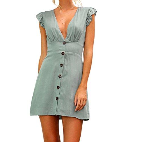 UFACE Damen Minikleid mit V-Ausschnitt Womens Solide Knöpfe Sommer Abendgesellschaft Kleid (L, Grün)
