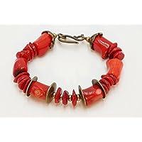 [Sponsorizzato]Bracciale Etnico Corallo rosso bambù, rondelle, bronzo, fatto a mano, estate, rami corallo, gioiello boho chic