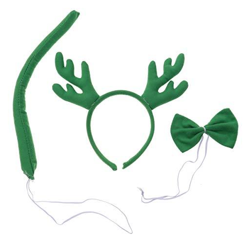 BESTOYARD Rentier Geweih Stirnbänder Schwanz Fliege Weihnachten Kostüm Maskerade Cosplay 3 Stück (grün) (Schwanz Kostüm Rentier)