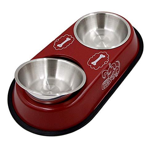 LIPETLI Hunden Schüssel Rutschfester Doppelter Schüssel Edelstahl Langlebiges Gut für Katzen und Hunde,Red -