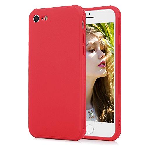 Cover iPhone 7, KASOS Custodia Silicone TPU Morbido Bumper Case Flessibile Sottile Antiurto Antigraffio Antiscivolo Shell Spessore di 1.3mm - Rosa Rosso