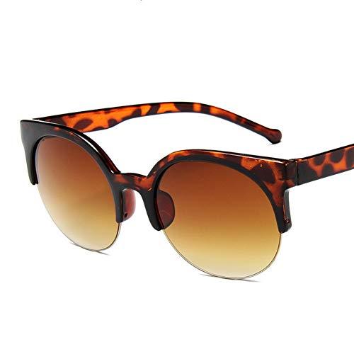 TDPYT Mode Cat Eye Sonnenbrille Frauen Retro Vintage Halbbild Eyewear Runde Kreis Halbrandlose Brille Uv400