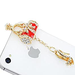 Lusee® Handy cellphone jewelry Dust plug for phones with a 3.5mm headphone jack for ppo N3 OPPO R7 OPPO R7plus OPPO R8207 OPPO R3007 OPPO R6607 / U3 OPPO A31T OPPO A51T OPPO A11 / JOY3 Bag and shoes with Artificial diamond (Red)