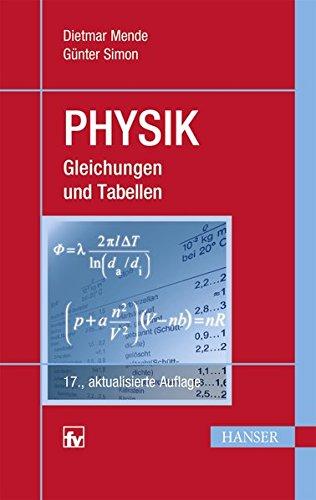 Physik: Gleichungen und Tabellen