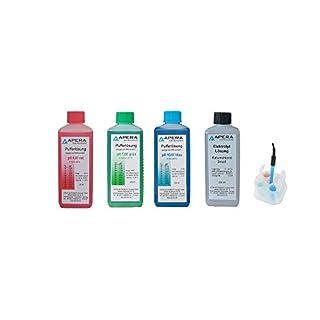 Apera Instruments pH Kalibrierlösung 4.01/7.00/10.01 + 3M KCl Elektroden Aufbewahrungslösung je 250ml, Pufferlösung Set