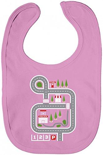ShirtStreet Kinderteppich Straßenmotiv Lätzchen Baumwolle Baby Bib Jungen Mädchen Auto Spielteppich, Größe: onesize,Bubble Gum Pink