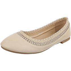 Damen Schuhe, 5021, BALLERINAS, PUMPS MIT STRASS DEKO, Synthetik in hochwertiger Lederoptik , Beige, Gr 39
