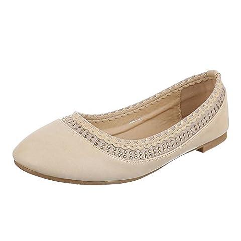 Damen Schuhe, 5021, BALLERINAS, PUMPS MIT STRASS DEKO, Synthetik in hochwertiger Lederoptik , Beige, Gr 37