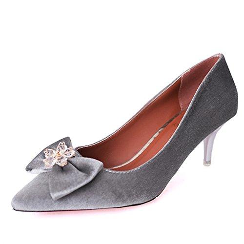 Fashion Lady chaussures printemps point lumineux pied/Les souliers/Chaussures à talon/Bow high heels B