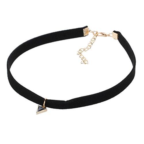 Yazilind Frauen Korean Vintage-Samtband Dreieck Vergolden Vergoldet Gliederkette Lätzchen PU Kragen-Halsketten