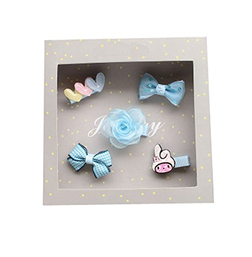 Enfants Bow Hair Clip caméra coiffe - Light Blue Rabbit Three Love