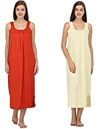 Ishita Fashions Cotton Gown Slip - Cotton Nighty - 2 PCs - Red and Yellow