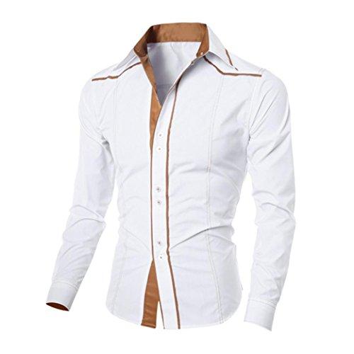 Tefamore Mode Personnalité Hommes Chemise à Manches Longues (XL, Blanc)