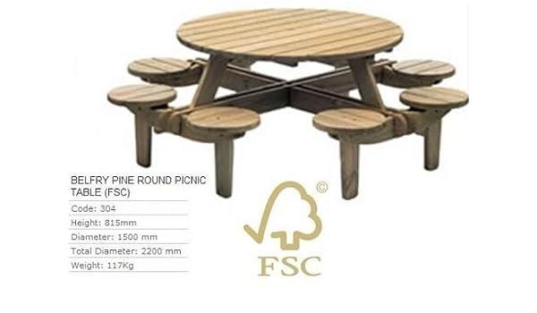 Awe Inspiring Alexander Rose Belfry Pine Round Picnic Table Garden Set Forskolin Free Trial Chair Design Images Forskolin Free Trialorg