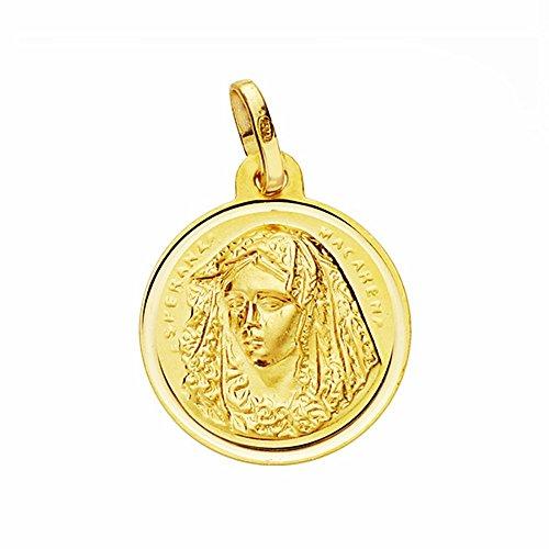 Medalla Oro 18K Virgen Macarena 16mm. Lisa Bisel [Aa2587Gr] - Personalizable - Grabación Incluida En El Precio