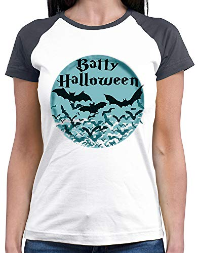 HARIZ  Damen Baseball Shirt Batty Halloween Fledermaus Mond Halloween Kostüm Horror Kürbis Plus Geschenkkarte White/Navy M