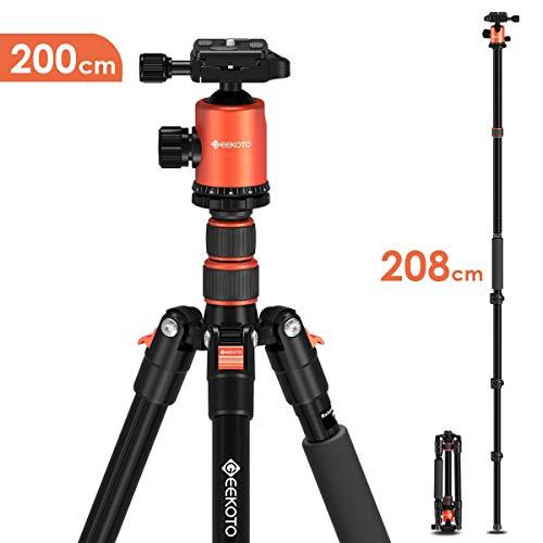 GEEKOTO Stativ Kamera Stativ 200cm, Aluminum Reisestativ mit Einbeinstativ und 360° Panor