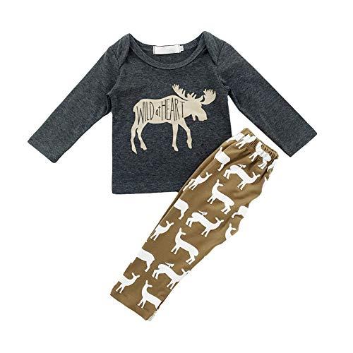 62052758828db Ensemble de vêtements pour bébé garçon T-Shirt à Manches Longues imprimé  Animal Haut et