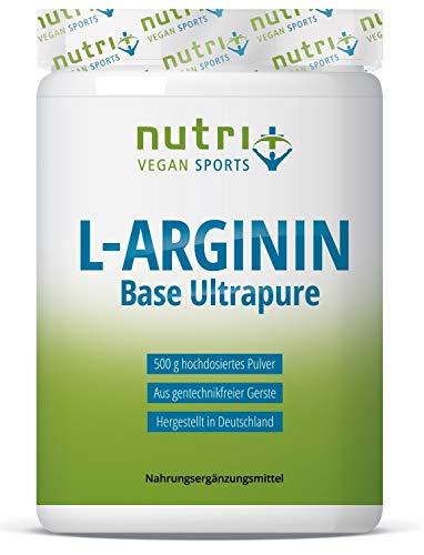 L-ARGININ BASE PULVER 500g - höchste Dosierung - pflanzlich durch Fermentation - reines L-Arginine - Vegan - Neutral - ohne Zusatz - Premiumqualität - hergestellt in Deutschland - 500g Pulver