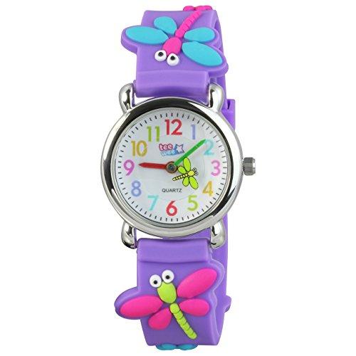 Teenie-Weenie Kinderuhr lila Libellen 3D Kautschukband Kinder Uhren UW326V