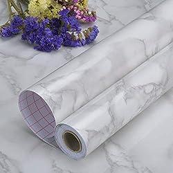 Art3d 45cm*200cm Matt Marble Contact Paper Countertops - Self Adhesive Shelf Drawer Liner - Granite Gray Decorative Contact Wallpaper - Waterproof, Peel and Stick, Easily Removable (45cmx200cm, Matt)
