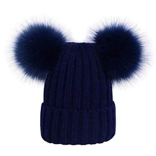 c7595e158 Lau s Gorros de punto niñas gorro invierno con dos pompones de pelo  sintético Azul marino