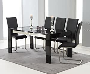 CANNES High Gloss Dining Table in Black with Six Malaga Black Chairs