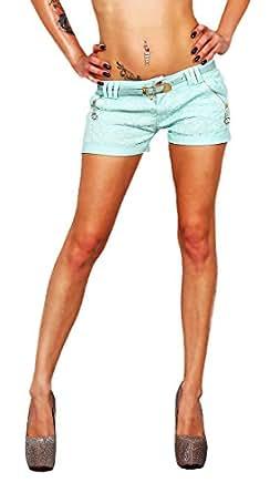 10371 Fashion4Young Damen Sexy Stretch-Stoff Hotpants Short kurze Hose Hot Pants Shorts Panty jeans (XS=34, Mint)