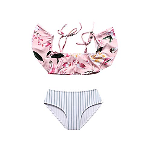 VECDY Moda Conjunto De Trajes De Baño para Mujer Cintura Alta con Volantes Suave Ropa De Baño De Verano con Estampado Floral De Mamá Y Yo Bikini De Familia(Rosa,100(18M-24M))