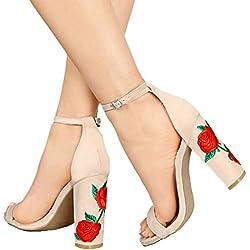 Minetom Mujer Verano Elegante Moda Rosa Bordado Tacón Sandals Tobillo Correa Hebilla Sandalias Zapatos de Tacón Alto Beige EU 38