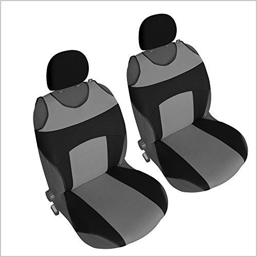 akhan-tuning CSC304 - Couvre Siège pour Voiture T Shirt, Housse de siège Auto Protecteur de siège, Coussin Cover Auto, Retour Coussin Noir/Gris (1 Paire)