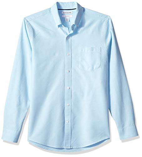 bc57faa9cc Amazon Essentials Slim-fit Long-Sleeve Solid Pocket Oxford Camisa, Azul  (Aqua