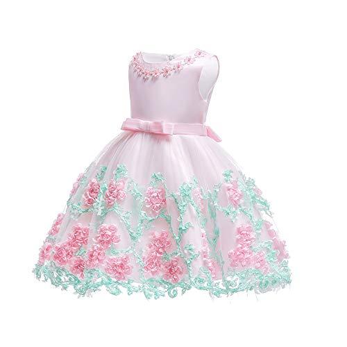 BOZEVON Baby Prinzessin Kleid - Säuglings Mädchen Blumenspitze Bowknot Hochzeit Ziemlich Niedlich Party Kleider, Rosa, 24M - Ziemlich Rosa Kleid
