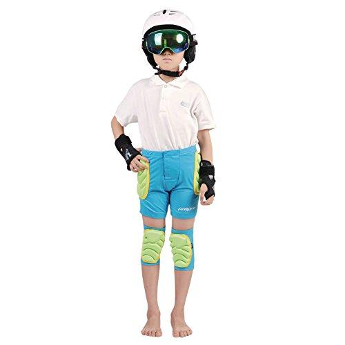 CHIC-CHIC Kinder Schutzausrüstung Skater Padded Shorts Fahrradhose Unterwäsche Shutz Ski Warm 3-8 Jahre (Blau, XXXS)