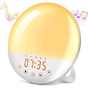 Lichtwecker Wake Up Licht, SOLMORE Sonnenaufgang Sonnenuntergang Simulation Wecker mit 9 Wecktöne(Inkl. 1 Aufnahme), Snooze Funktion, 30 Helligkeit, UKW-Radio, Touch Control für Kinder, Schlafzimmer