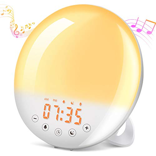 Wake Up Light, SOLMORE Alarm Clock Sunrise/Sunset Simulation Table Bedside Night Lamp with 7 Light Colors /30 Brightness Levels/9 Alarm/FM Radio/Touch Control, Eyes Protection Lamp for kids, Bedroom