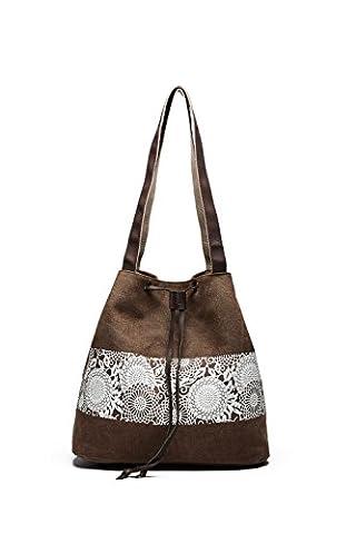 Bvane Ladies Cotton Canvas Drawstring Shoulder Bag, Women's Vintage Canvas Hobo Shoulder Bag Bohemian Totes Handbag