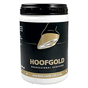 HOOFGOLD Hufbalsam Spezial für Pferde Huffett für die tägliche Hufpflege gegen sprödes Horn und Hornspalten Schützt vor trockenen Hufen 1000 ml