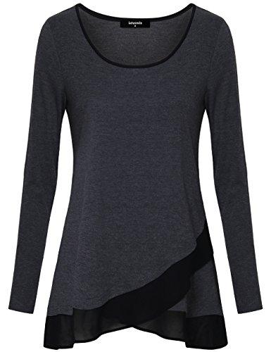 Tunika Tops für Damen, Lotusmile Langarm Shirt A-Linie Swing Rundkragen Chiffon Vintage Freizeit Shirts,Grau M (Stiefel Welle Frauen)