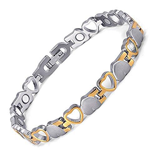 Ailina Donna Cuore Design magnetica Salute Bracciale con argento placcato oro, in confezione regalo, con attrezzo per rimozione