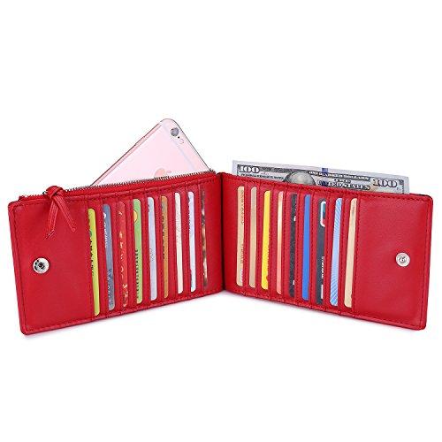 Brieftaschen für Frauen Slim Bifold Brieftasche ID Card Case Organizer Halter mit Reißverschluss Tasche Rot