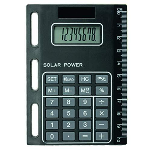 bind 1020 - Solarrechner mit Universallochung, Taschenrechner zum Einheften für Timeplaner, Kalendermappen und Ringbücher, Rechner ca. 11 x 8 cm, aus schwarzem Kunststoff