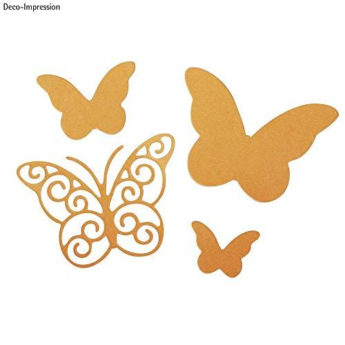 Rayher 59229000Set Fustelle Farfalle Graziose da 5 Pezzi in Misure Diverse, 1,3-4,5cm Fai da Te Stencil Decorazioni Acciaio Lunga Durata
