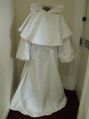 Kostüm Fancy Made Custom Dress - New. Med Off Weiß/Creme Priest Stil Mantel/Bademantel mit großzügigen Bördelgerät und integrierte Kapuze