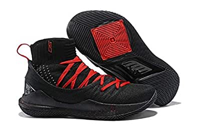7dc6e46c3302 UnderArmour UA Curry 5 Black-Red Men s Basketball Shoes (9 UK)  Buy ...