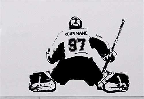 wandaufkleber Hockey Goalie benutzerdefinierte Abziehbild Wand Kunst Aufkleber Spieler Jersey Name und Zahlen Kinder Aufkleber -